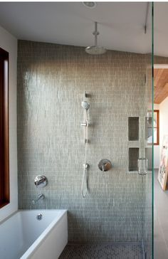 freestanding tub and open shower in small bathroom ... on Wet Room With Freestanding Tub  id=57634