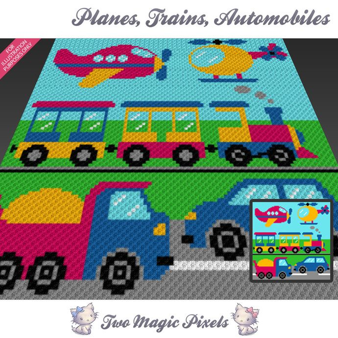 Planes, Trains, Automobiles graph for crochet (C2C, Mini C2C