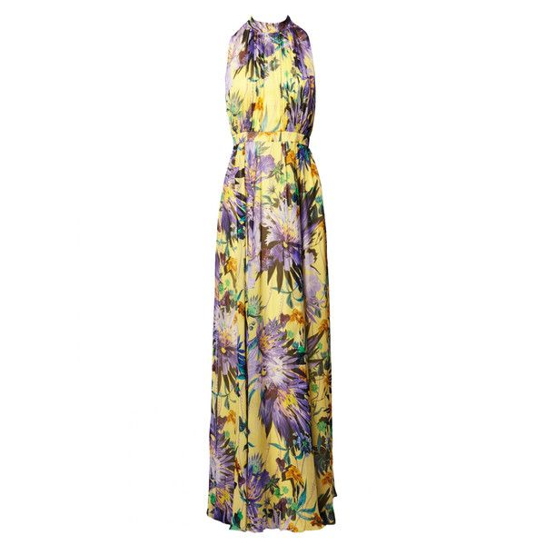 Matthew Williamson Lemon Jungle Bloom Silk Chiffon Gathered Gown (3.660 BRL) ❤ liked on Polyvore featuring dresses, gowns, gown, lemon, flower print dress, butterfly print dress, high neck dress, high neck evening gown and ruched gown