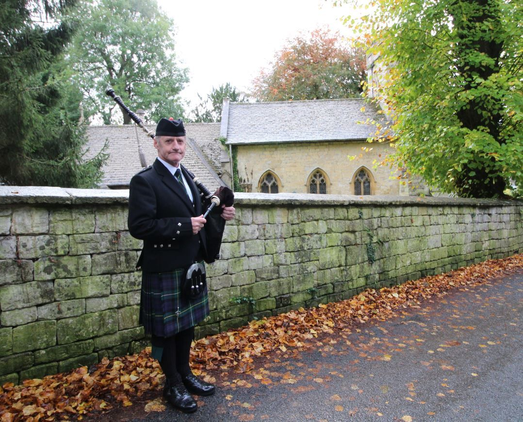 Bagpiping in Randwick nr Stroud today for a local lady's