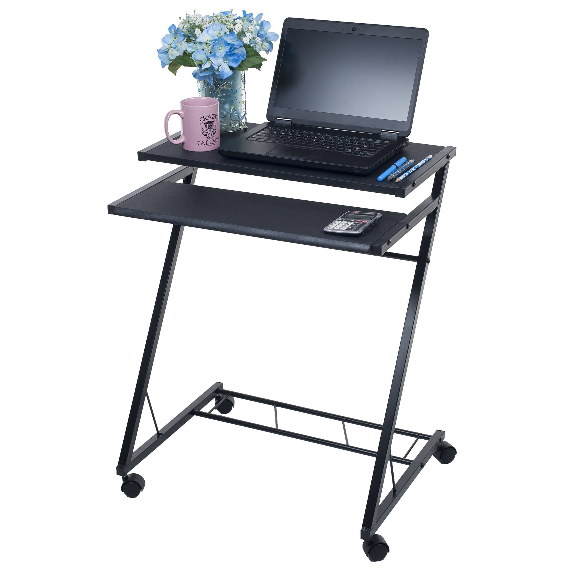- Compact Mobile Computer Desk Home Office Furniture, Rolling Desk