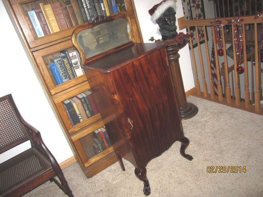 Antique Mahogany Sheet Music Holder Player Piano Roll Cabinet ...