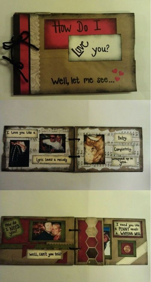 Mini Lyrics Scrap Book. My favorite kind to make! Regular brown lunch sacks as the pages make it super cheap to make. Lyrics and pictures to one of our favorite songs! I just print the pictures off my computer and already have all the scrapbook paper and supplies, so making this cost roughly around one dollar!