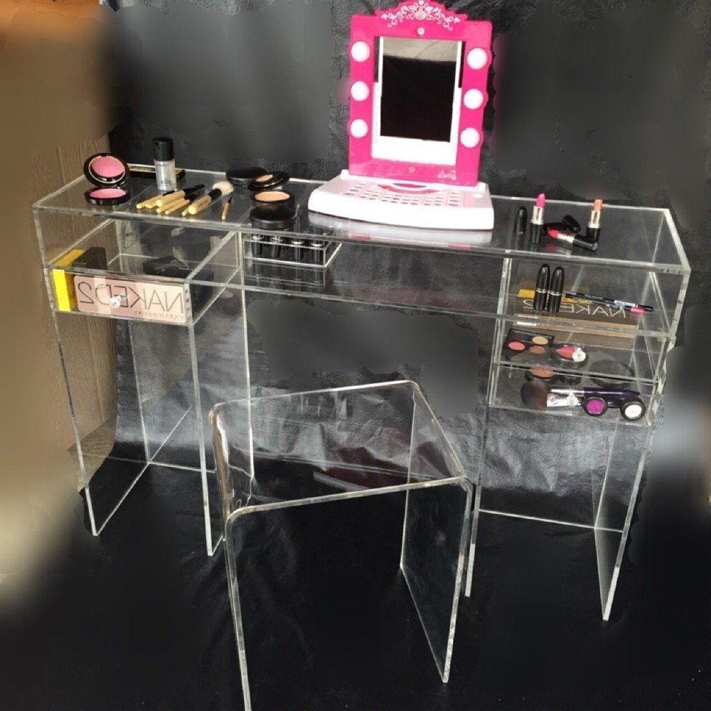 uk availability 27229 8918b Acrylic Custom Vanity Desk Any Size Custom Design | Vanity ...