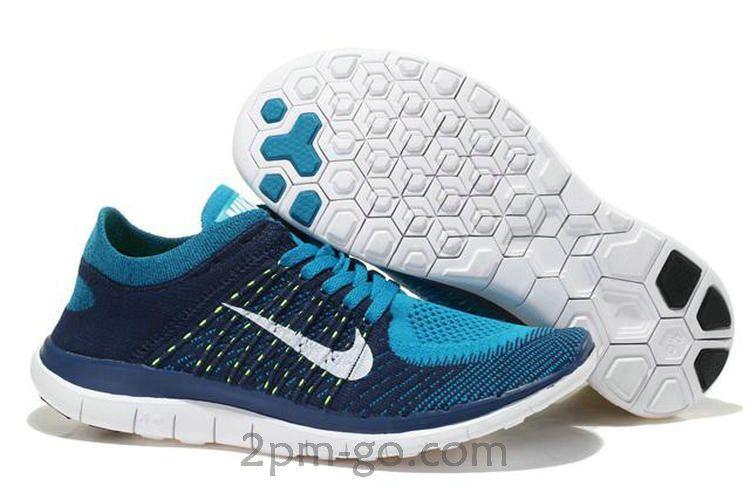 Nike Flyknit Free Run 4.0 Heren' Schoenen Royal-Blauw Wit 631053-401
