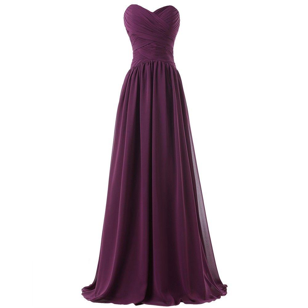 Elegant long purple chiffon bridesmaid dress uniqistic