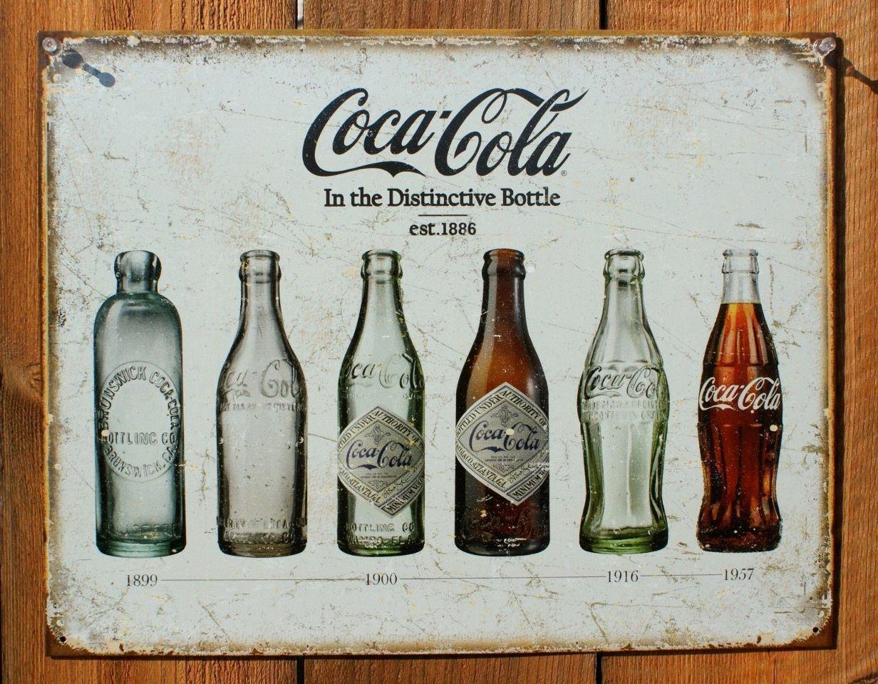 Coca Cola Glass Bottle Evolution Tin Sign Coke Soda Pop Cap Vintage ...