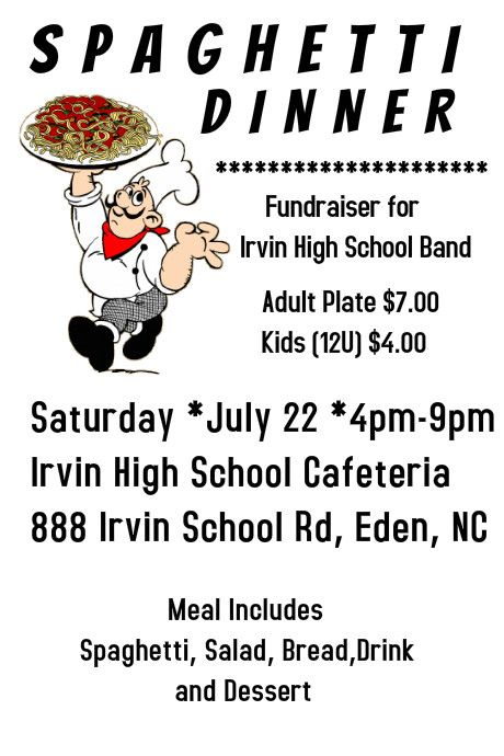 spaghetti fundraiser flyer