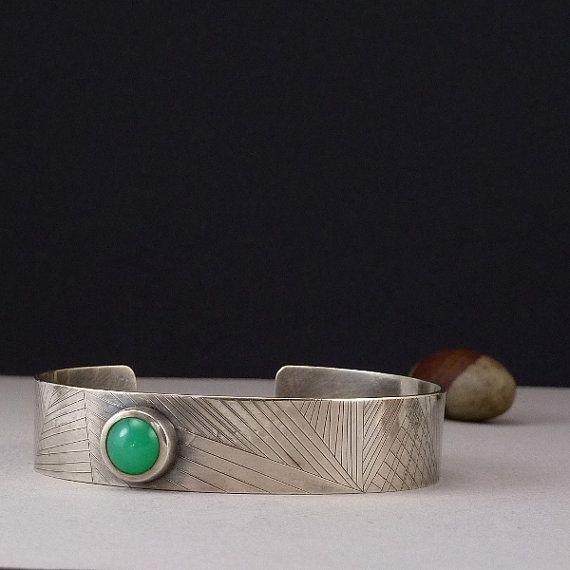 Chrysoprase bracelet Hand Engraved