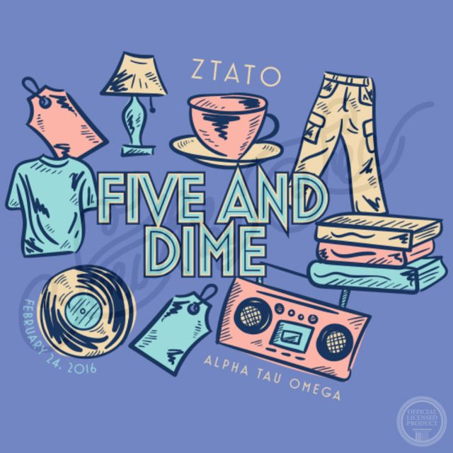 Five and Dime | ZTA | ATO | Zeta Tau Alpha | Alpha Tau Omega | Thrift Theme Social | South by Sea | Greek Tee Shirts | Greek Tank Tops | Custom Apparel Design | Custom Greek Apparel | Sorority Tee Shirts | Sorority Tanks | Sorority Shirt Designs