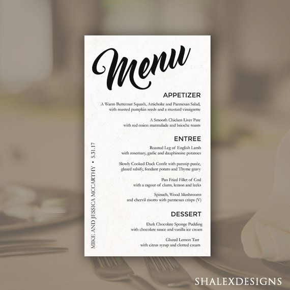 Wedding Menu Template  Printable Dinner Menu  Photoshop Psd