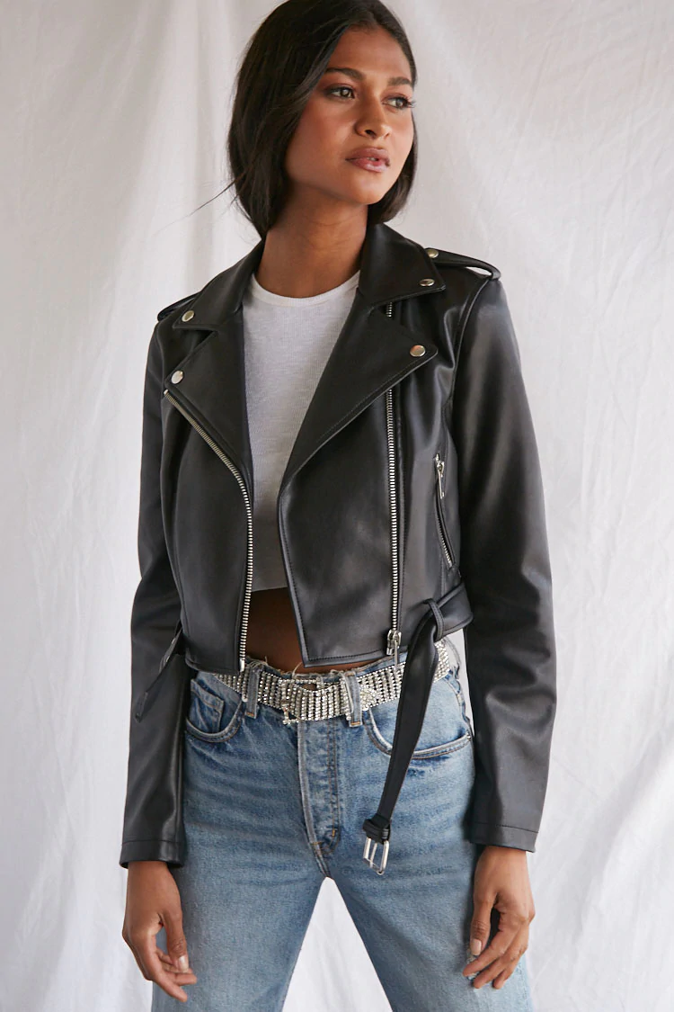 Faux Leather Cropped Moto Jacket Forever 21 Cropped