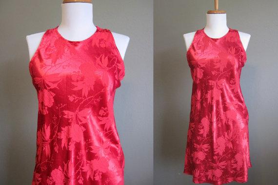 Satin Brocade Dress Red Vintage Mini Halter by InTheHammockVintage, $24.00