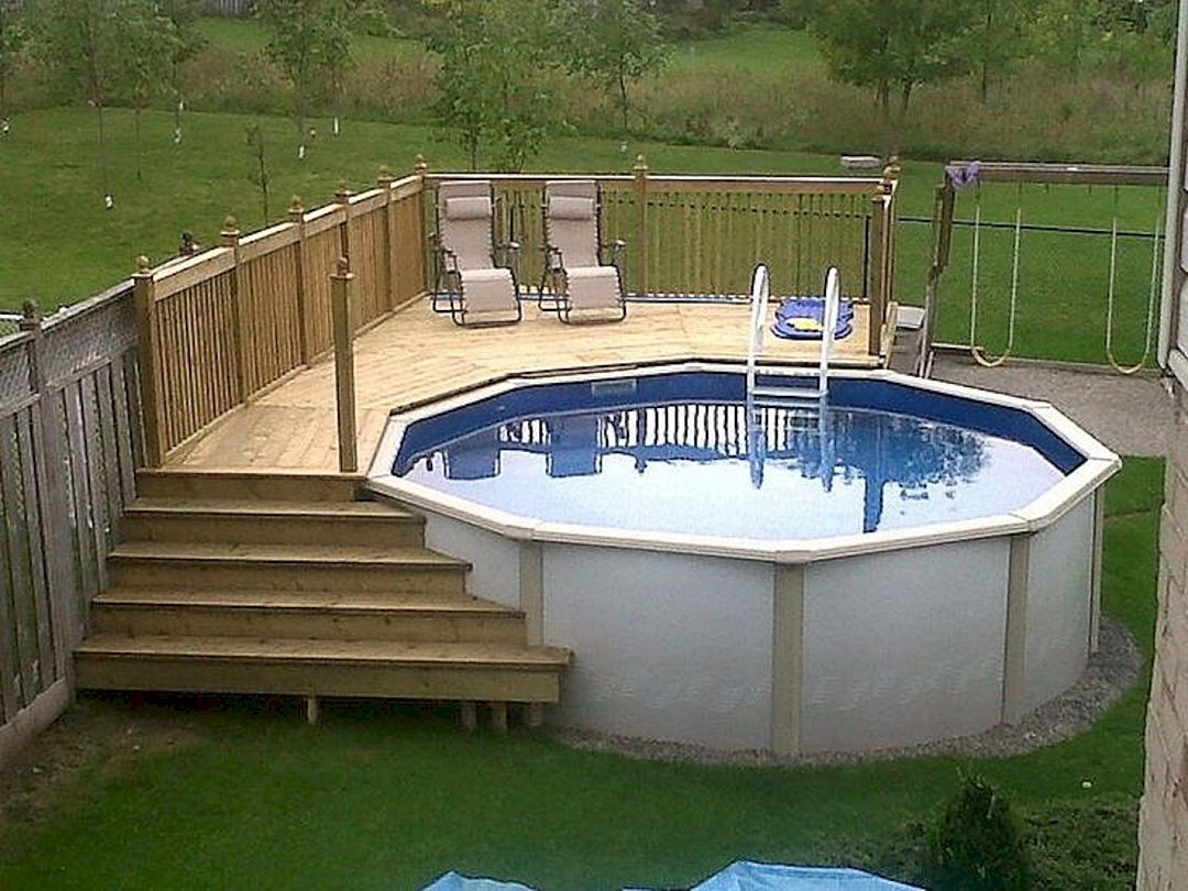 15 Round Above Ground Pool With Simple Deck Pool Deck Plans Best Above Ground Pool Swimming Pool Decks
