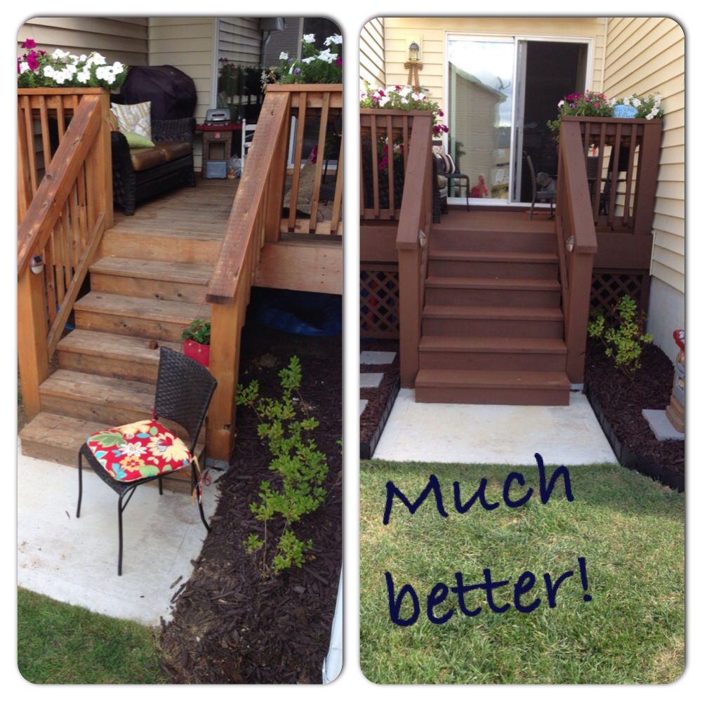 Restore deck paint stain review a can is 20 at lowes for Painted deck pictures