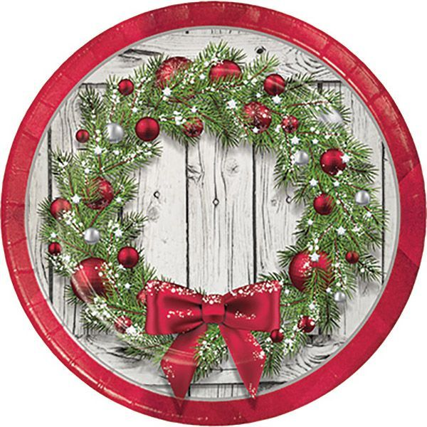 Rustic Wreath Lunch Plates 8ct