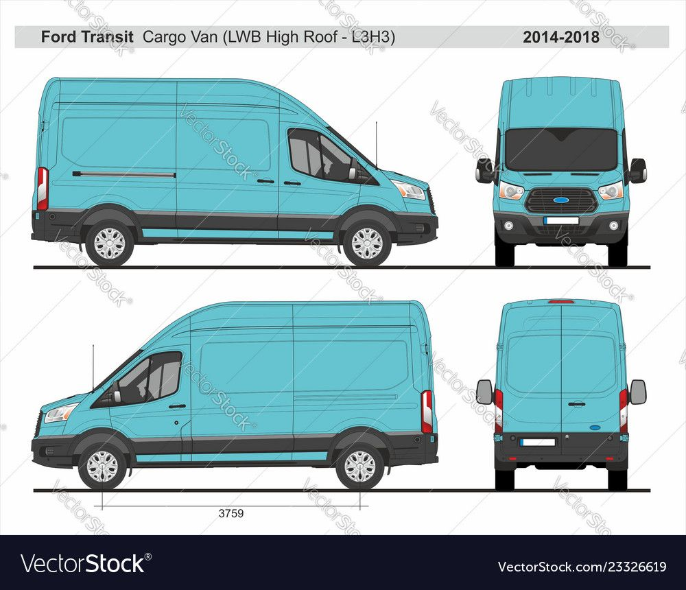 Ford Transit Cargo Delivery Van L3h3 2014 2018 Detailed Template For Design And Production Of Vehicle Wraps Scale 1 To 10 Download A Ford Transit Van Bus Wrap