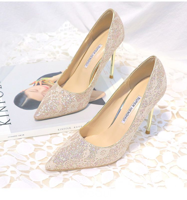 Chic Beautiful Gold Womens Shoes 2019 Lace Sequins 10 Cm Stiletto Heels Pointed Toe Pumps Wedge Wedding Shoes Bridal Shoes Wedges Wedding Shoes Lace