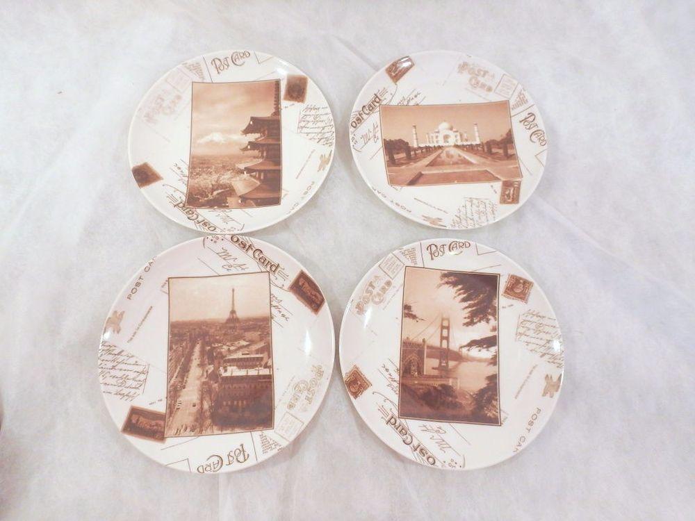 Set 4 BIA World Market Porcelain Postcard Cake Plates Paris Taj Mahal