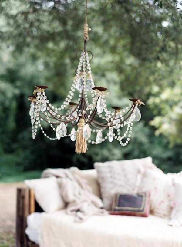 Beau There Is Something So Romantic And Charming About Outdoor Chandeliers.  Whether Electrified Or Candle Holders They Both Add A Ton Of Ambian.