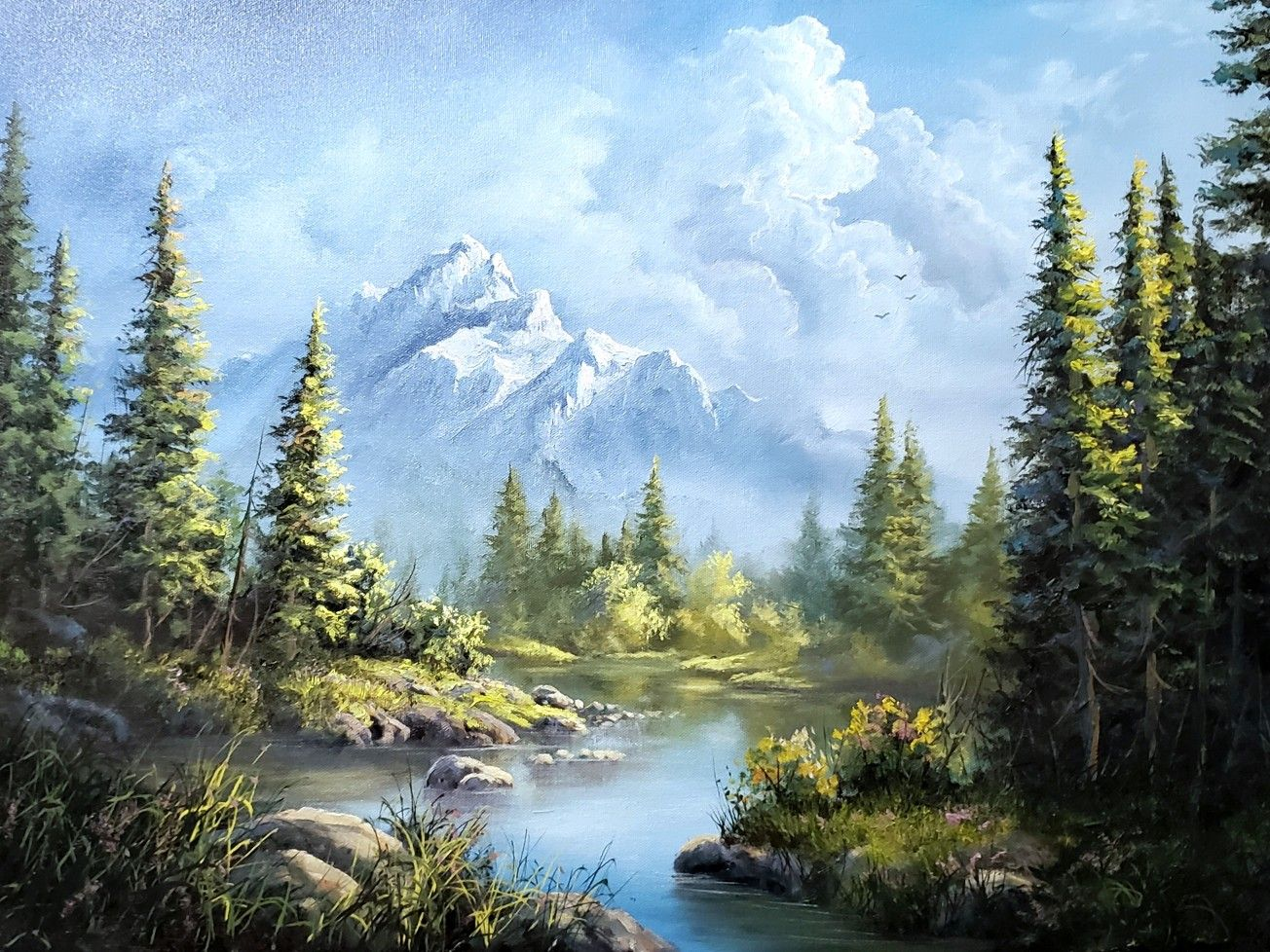 This Week I Painted A Classic Landscape With A Distant Mountain Evergreen Trees And Foreground Lake I Hope You Enj In 2020 Kevin Hill Paintings Landscape Kevin Hill