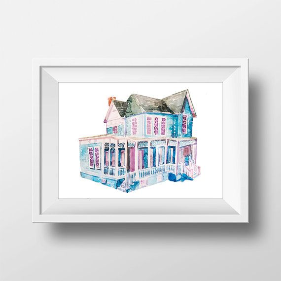 Wall Art Watercolor Gilmore Girls House Print,Lorelai and Rory,Tv Show Poster,Luke's Diner,Gilmores,Watercolor Blue House