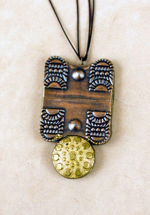A big rectangular pendant of decorative copper by HalamaHandMade, $30.00