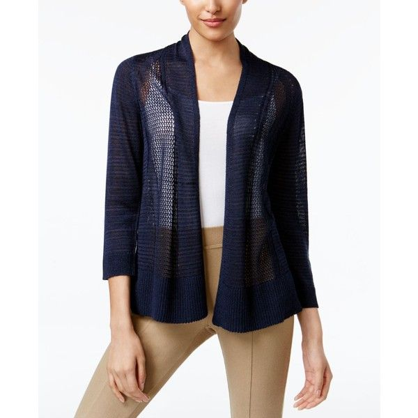 Alfani Sheer Mixed-Knit Cardigan, ($50) ❤ liked on Polyvore ...