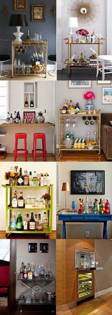 Decoração: Minibar para apartamentos pequenos Um minibar para receber seus amigos em casa Se você gosta de servir bebidas ou preparar drinks para os amigos e familiares que visitam seu apartamento ou você mesmo gosta de degustar um bom vinho, um whisky ou até mesmo uma cerveja, mas não tem espaço suficiente para acomodar tudo em um bar, a solução pode estar em um minibar! Veja como montar um clicando na imagem.