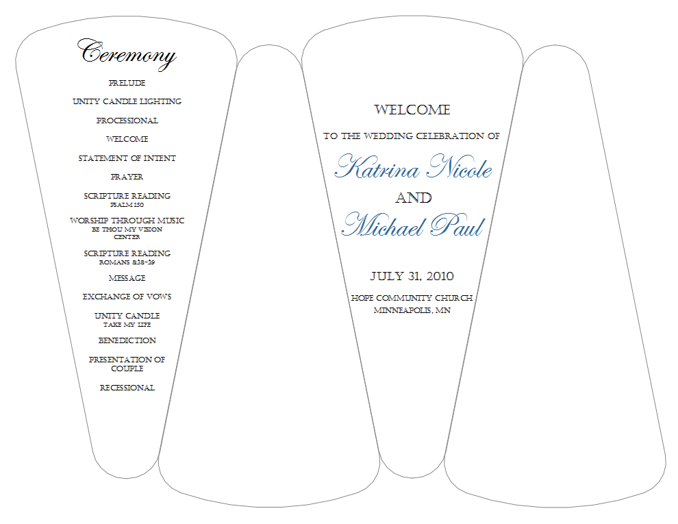 Petal fan wedding program template free mini bridal Diy home design ideas software programs free