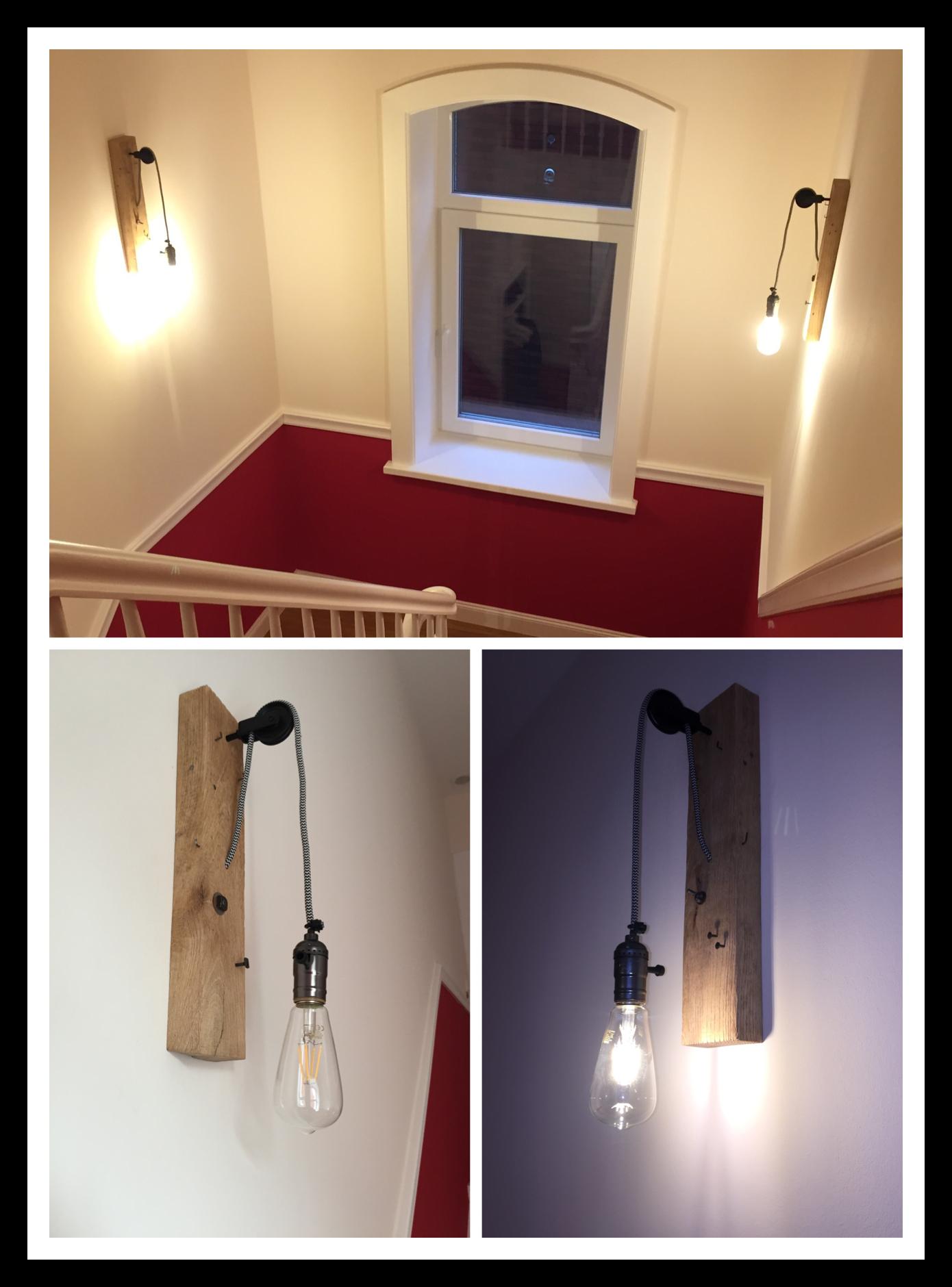 Wandlampe, vintage, retro, Eichenbohle gebürstet, Textilkabel ...