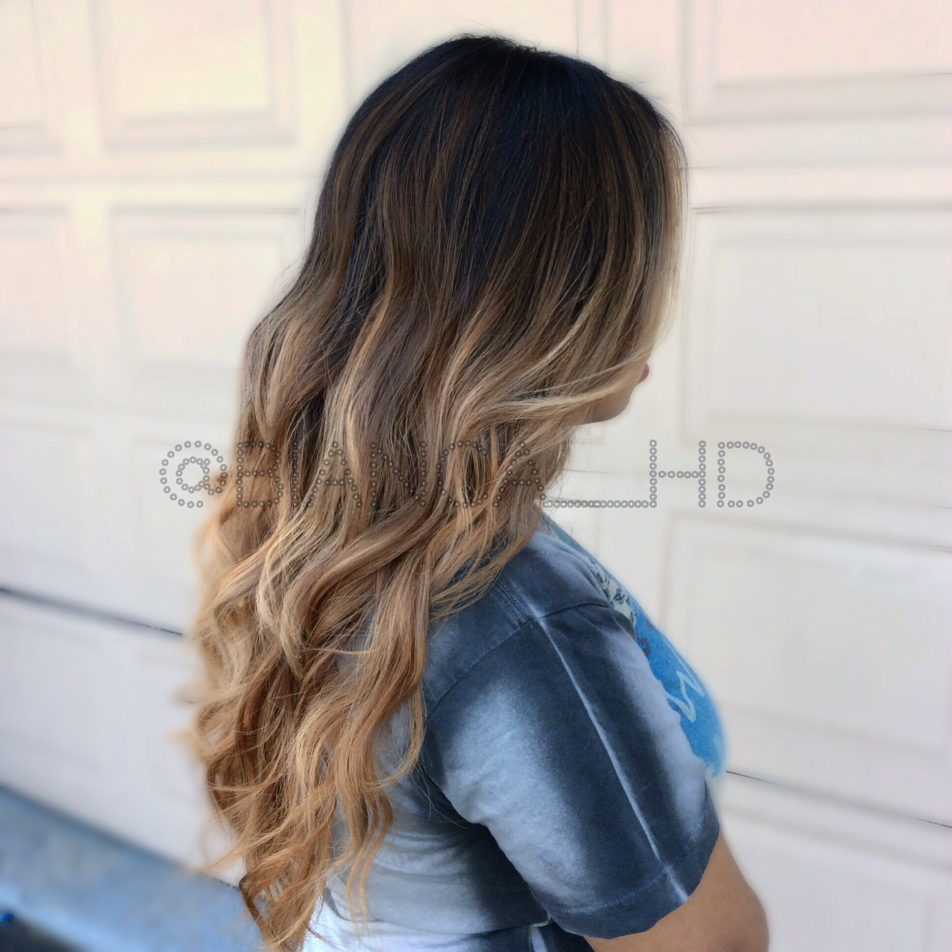 High Contrast Ombre Balayage Dark Roots Light Ends Caramel Ombre