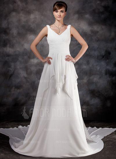 Wedding Dresses - $188.99 - A-Line/Princess V-neck Watteau Train Chiffon Wedding Dress With Ruffle (002000565) http://hochzeitstore.com/A-line-Princess-V-neck-Watteau-Train-Chiffon-Wedding-Dress-With-Ruffle-002000565-g565