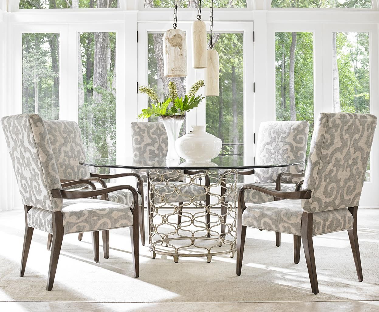Laurel Canyon Six Piece Dining Set With Bollinger Table And Sierra Customizable Chairs By Lexington At Baer S Furniture Round Dinning Room Table Dining Furniture Casual Dining Room Set