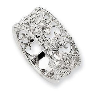 Diamond Ring Sale 25 Ct Wedding Band Anniversary Ring Filigree 14k White Gold 14k White Gold Diamond Ring White Gold Diamond Rings Diamond Rings For Sale