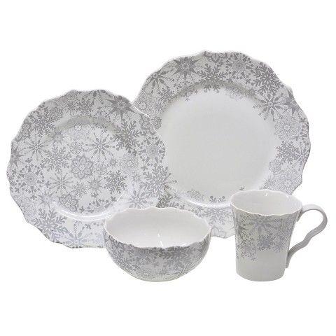 222 Fifth Snow Flurry 16 Piece Dinnerware Set  sc 1 st  Pinterest & 222 Fifth Snow Flurry 16 Piece Dinnerware Set | Christmas ...