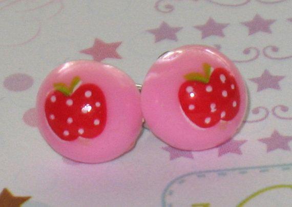 Polka Dot Apple Pink Stud Earrings 10mm Tiny Kawaii by DIYArtMart
