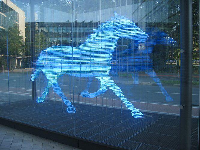 Zwei Pferde für Münster (Two horses for Münster), neon sculpture by ...