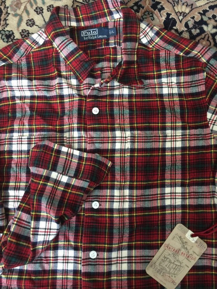 Nwt polo ralph lauren red cream black green plaid large for Green and black plaid flannel shirt