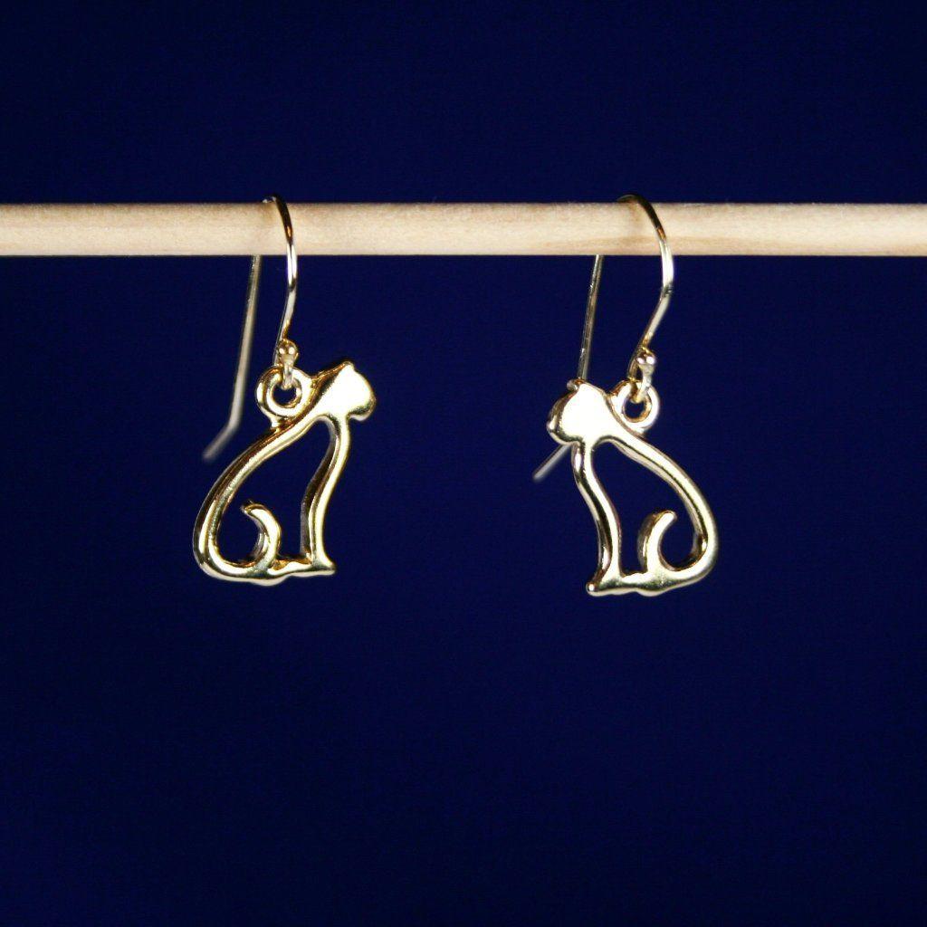 5796528e7 14K Bright Gold Plated Pewter Earrings for all Cat, Kitty & Kitten ...