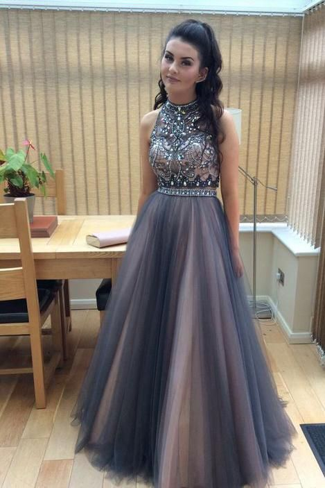 01bea9e96a2 Full Length Sexy Tulle Beads Sleeveless A line Coffee Tulle Two Piece Prom  Dresses uk Prom