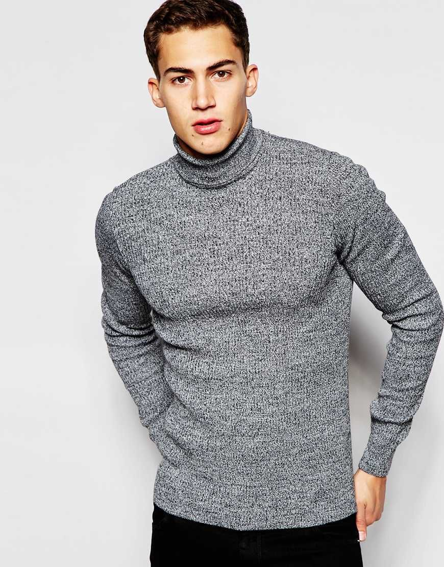Image 1 of ASOS Muscle Fit Ribbed Roll Neck in Black Twist