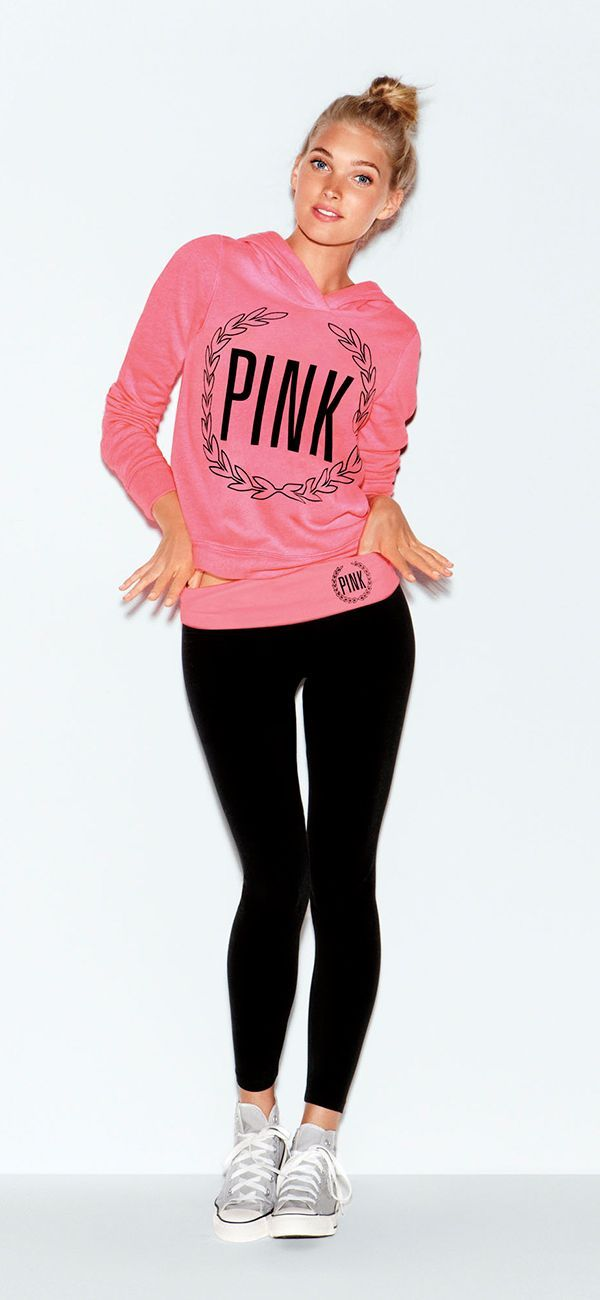 So cute! Black yoga pants, with high top converse, and pullover sweater