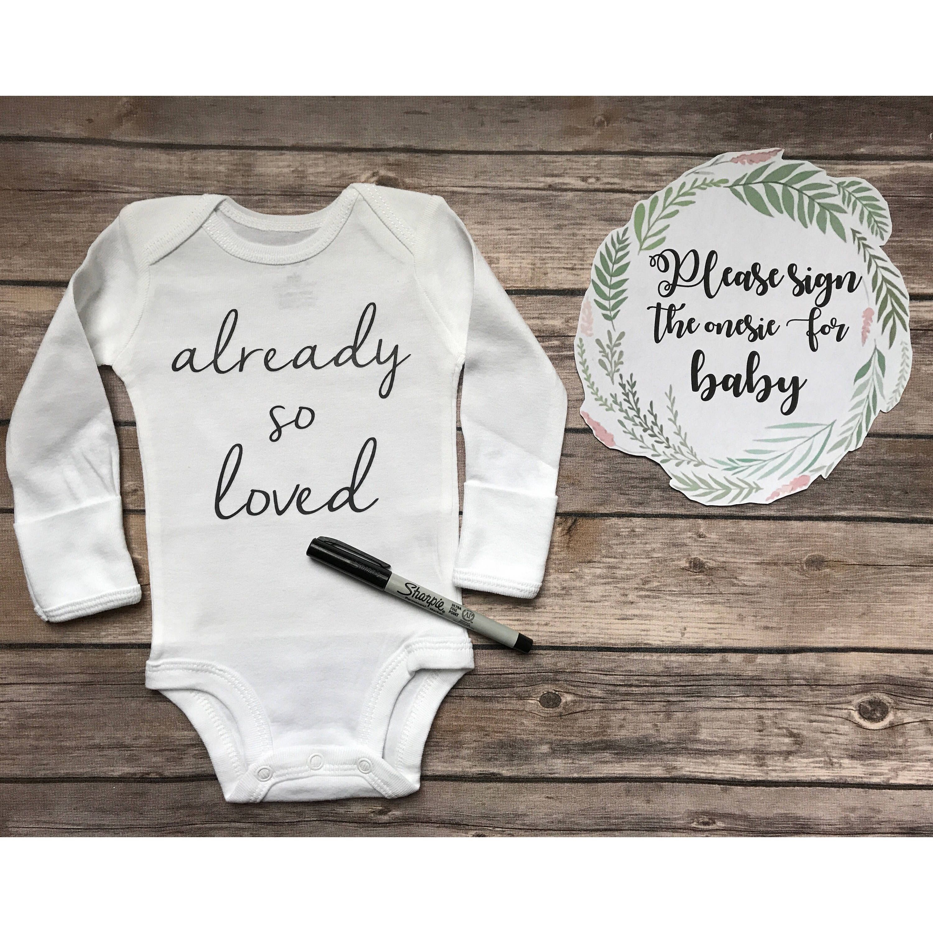 Baby Shower Guest Book Already So Loved Onesie Perfect Baby