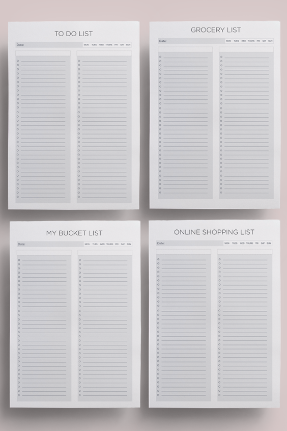 to do list printable bundle grocery list bucket list journal