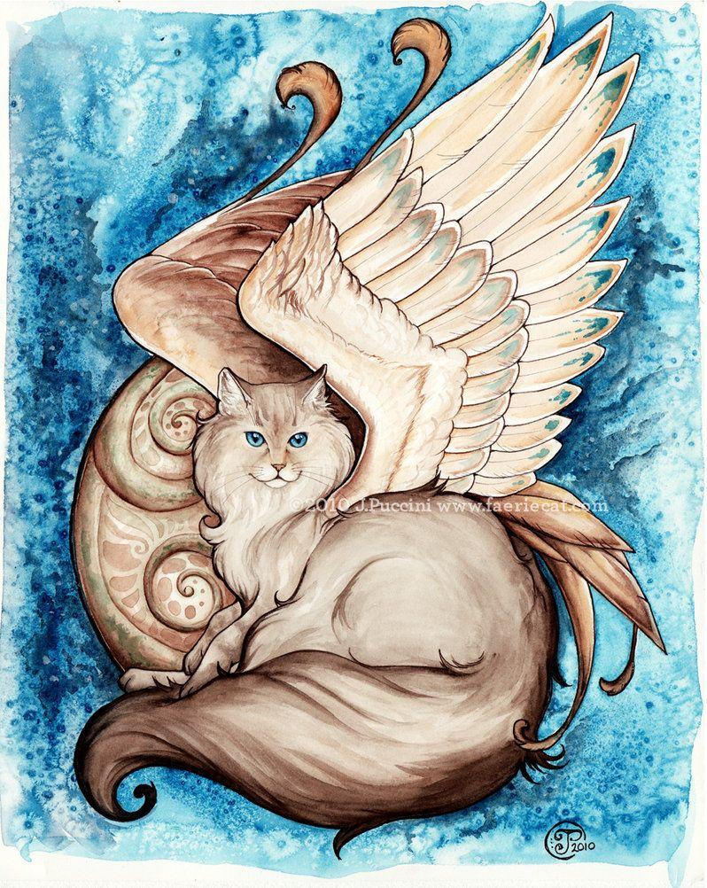 Azara winged cat portrait by daydreamer on DeviantART
