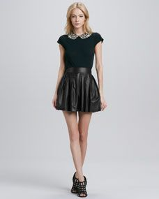 11042c518 Alice and Olivia Pre-Fall: Marilla Bead-Collar Top & Pleated Leather Skirt