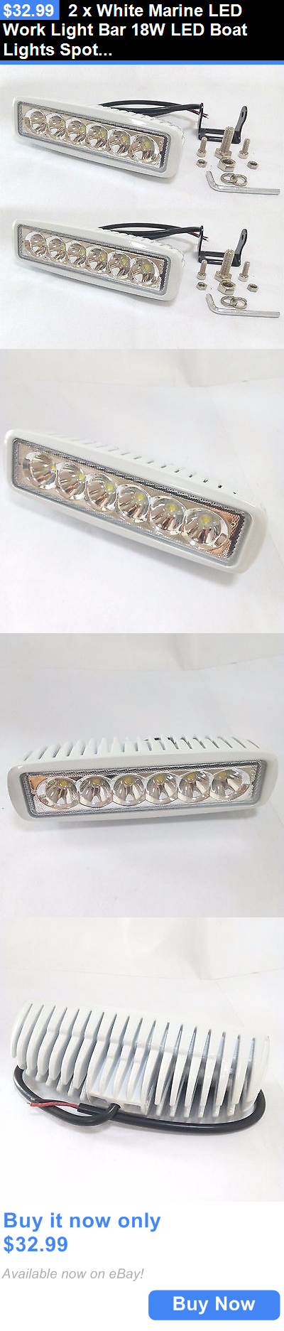 Boat Parts 2 X White Marine Led Work Light Bar 18w Led Boat Lights Spot Beam 30 Degree Buy It Now Only 32 99 Led Boat Lights Boat Lights Led Work Light
