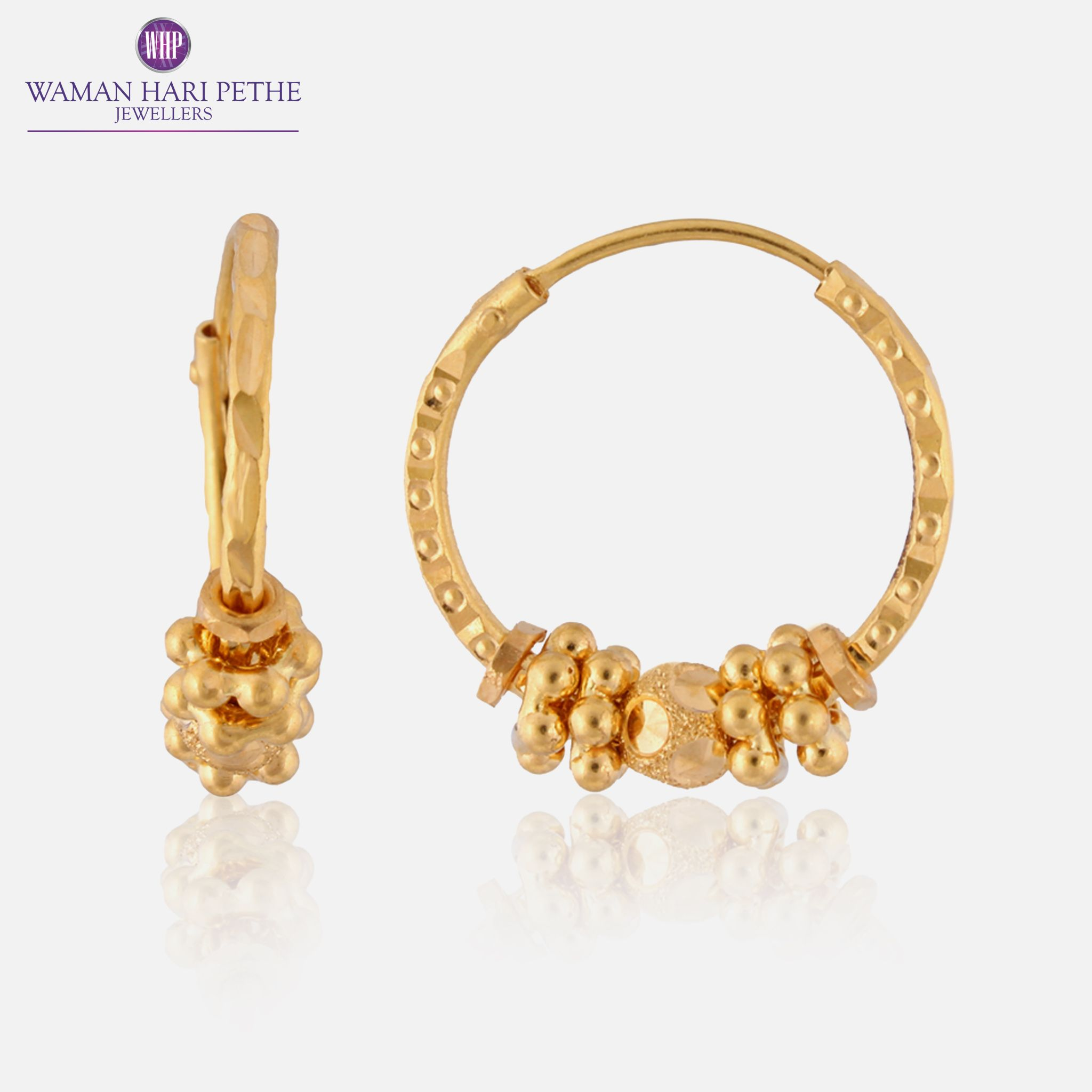 Lovely hoop earrings by Waman Hari Pethe. 22Kt gold. Available on ...