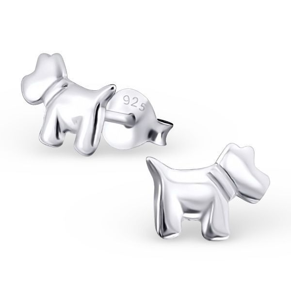 Pair of Small Sterling Silver Scottie Dog Stud Earrings wpCzb